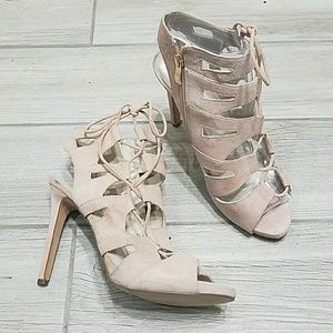 Blush pink lace up suede cage heels